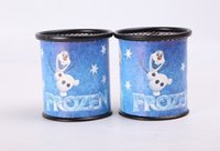 Wholesale 2015 new froze Brush pot Round Metal pen container Elsa Anna pen holders
