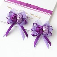 Single Flower ribbon Wedding 2pcs lot Satin Bridemaid Brooch + Wrist Flower Handmade satin Bowknot Rose Corsages Wedding Bridal Accessories wbc008