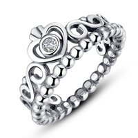 Wholesale My Princess Pandora Style Crown Silver Rings with Clear Cubic Zirconia Engagement Wedding Rings for Her R010