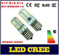 Wholesale Newest Mini LED lamps E14 B15 E17 SMD LEDs W Crystal Chandelier AC85V V V V V Spotlight Silicone LED bulbs Pendant light