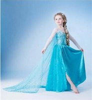 Wholesale 2015 popular frozen and lace in blue color dresses for baby girls frozen girls dress frozen clothing