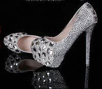 Cheap 2016 Silver Graduation Party Prom Shoes High Heel Crystals Rhinestones Bridal wedding shoes Diamond Lady Shoes for Wedding Party