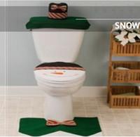 Wholesale Christmas Toilet Seat Cushion Snowman Chamber Pot Covers Bathroom Closestool Floor Rug Tissue Cover Sets As Christmas Decoration MOQ Set