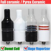 Cheap Huge Vapor Full Ceramic Glass Wax Atomizer Donut wickless Coils Herbal Pyrex Vaporizer 22mm Atomizer 510 e cigarette vape pen Mod Tank DHL