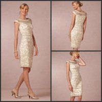 Wholesale 2015 Mother of the Bride dresses Elegant Classical Charming Scoop Lace Sleeveless Zipper Knee Length Sheath Formal Wedding Party gown Cheap