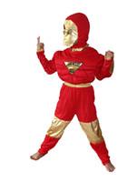 Wholesale Halloween Party costumes Cosplay Children s model clothing kid cartoon Role playing Iron man clothing Boy Long sleeved T shirt