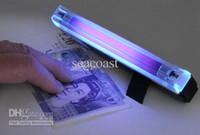 Wholesale 50pcs UV Lights Ultraviolet lights In UV Light Handheld Torch Portable Fake Money ID Detector Lamp Light Lights Lamps Tools Tool