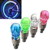 Wholesale 2pcs Skull Valve Cap Light Wheel Tyre Lamp for Car Motorbike Bike Color