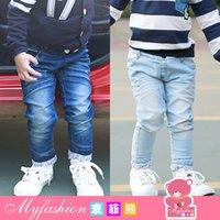 Wholesale children s clothing autumn Korean version boys curling leg pocket denim trousers personalized letter