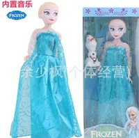 wholesale music gifts - EMS Free Frozen Anna Elsa Olaf Doll New Fashion Children European Style Let It Go Music Theme Song Kids Toys Gifts Favor Cartoon Dolls I3710