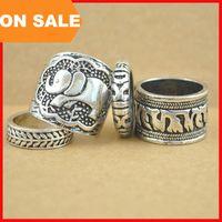 asian elephants - 4pcs set Retro carved metallic band ring Vintage Sculpture elephant leaf punk finger ring for women statement jewelry