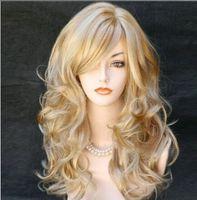 Wholesale New fashion wig natural hair long life like women long wavy wigs with neat bang Haircut Han edition curly hair