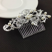 hair sparkle - 2015 Fashion Bridal Wedding Tiaras With Crystal Rhinestones Pearls For Women Girls Sparkle Hair Clip Comb Hairpin Accessories Gift