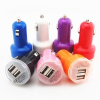 Wholesale Mini USB Car Charger dual port buglet Universal Adapter for iphone S Cell Phone PDA MP3 MP4 player and all smart phone factory price
