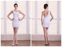 designer tights - Tight Organza Homecoming Dresses Empire One Shoulder Sleeveless Hollow Waist Beaded Sequins Ruched Backless Mini Cocktail Dress ZPD0187