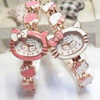 Wholesale 2015 New Hello Kitty Watches Fashion Ladies Quart Watch Vine Kids Cartoon Wristwatches Analog King Girl Brand Quartz women
