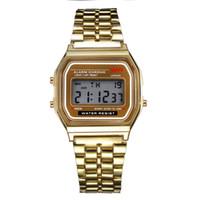 battery wristband - New arrive Fashion F W Men LED watch Ultra thin Gold Silver Wristband Led Sports Watches Multifunction Metal Electronic F Wristwatch