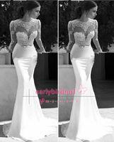 Cheap 2015 Berta Bridal Mermaid Wedding Dresses Jewel Neck Long Sleeve Lace Sheer Bow Chiffon Backless Formal Sweep Train Bridal Gowns BO6075