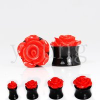 fake gauges - black acrylic flower ear gauges piercing body jewelry fake ear tapers AE
