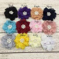 Cheap Hair Clip Chiffon Flower Matching Hair Clips Boutique Hair Accessory Laryered Flower Clips