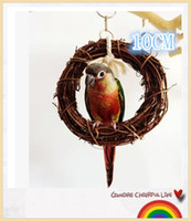 Wholesale Small and medium sized pet birds parrot supplies natural rattan ring toy swing rings toys stand cage accessories