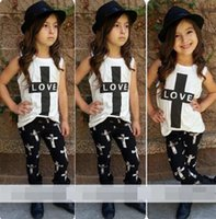 baby love pants - Children Clothes Set Girls piece Suits Summer Baby Kids Girl LOVE T shirt Outfits Tops Pants Set T83