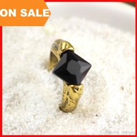 Cheap Harry Potter finger ring Horcrux resurrection stone rings Deathly Hallows black square gem charm rings statement movie jewelry 080082