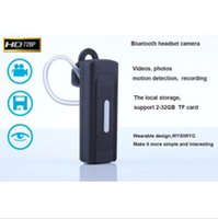 al por mayor bluetooth auriculares cámara espía-Spy cámara bluetooth auricular tarjeta de TF 1280 * 720P Ocultos auricular Cámara video audio mini videocámara de la detección del movimiento de apoyo 2-32GB