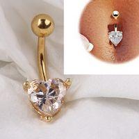 al por mayor botones de oro diamantes de imitación-El arco del Rhinestone del corazón del oro 12pcs 18K cuelga el perforar Piercing del cuerpo del anillo del botón de la barra del vientre del ombligo