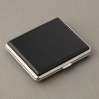 Wholesale Classic Leather Alloy PU Cigarette Case Box Metal Holder or14or16or18pcs Cigars Black