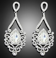Silver austrian crystal chandeliers - 2015 New Champagne Noble Austrian Crystal Dangle Drop Earrings for Women14K Gold Plated Environmental Fashion Jewelry