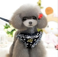apparel crowns - pet leash Apparel High grade crown pet cord dogs chest straps drawing rope set Teddy poodle dog Supplies clothing sets F