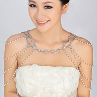 body chain - Ribbon Chain Shoulder Wedding Bridal Princess Crystal Rhinestone Body Jewerly Beaded Wedding Accessory Necklace Jewelry Set