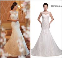 Model Pictures beaded garden designer - Wedding Dresses Lace Sheer Neck Mermaid Crystal Wedding Gowns Real Images Backless Tulle Court Train Satin With Beaded