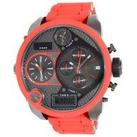 watch faces - Supper Badass DZ7279 Men s Luxury Quartz Watches Red Big Face Watches Time Zones Analog Mens Watches DZ With Original Box