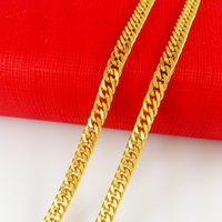 Wholesale MENS HEAVY K YELLOW GOLD FILLED CUBAN LINK CHAIN NECKLACE IN SOLID