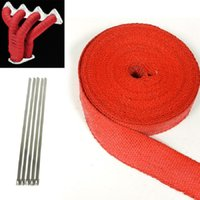 Wholesale Red quot X25 quot Turbo Header Manifold Catback Tailpipe Heat Wrap Stainless Tie