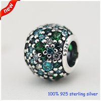 diy - summer collection Silver Ocean Mosaic Zircon Charm sterling silver loose beads charms fit bracelet DIY fine jewelry CE660