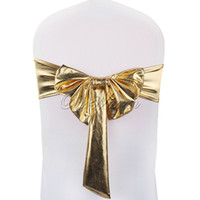 Wholesale 5pcs Gold Silver Single Layer Bronzing Bow Chair Cover Band Stretch Spandex Chair CoverBowknot Sashes Wedding Banquet Chair Covering