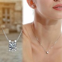 Wholesale Women Cubic Zirconia Pendant Silver Plated Drop for Necklace Chain Jewelry Gift