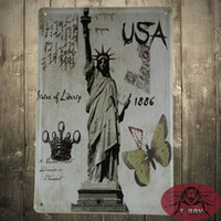 antique post cards - The statue of liberty post card retro Art wall sticker House Cafe Restaurant iron Painting Mix order CM