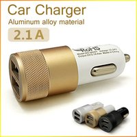 Wholesale 5V A Aluminum Material Dual Ports Universal USB Car Charger For iPhone plus ipad Samsung Galaxy S4 S5 Note