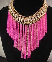 Wholesale Rhinestone New Gold Plated Long Tassel Chain Bib Chunky Choker Neon Statement Necklace Jewelry Women Bib Ethnic Fashion Alloy Black Fuxia