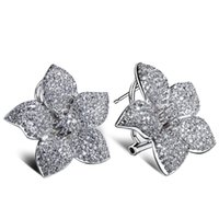 Wholesale White gold plate Flower earrings Lead Free Platium plated with top quality of Cubic Zircon Women Earrings Party Casual
