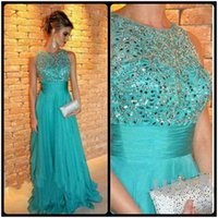 best strap lines - 2015 Best Selling A Line Prom Dress Luxury Crystal Beading Chiffon Turquoise Evening Party Dress Sleeveless Floor Length Vestido De Festa
