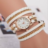 antique white mirror - 2016 explosion models marble mirror diamond bracelet vine hand woven wound three times ladies watches