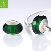 achat en gros de authentique murano pandora-Argent 925 Fascinant vert verre de Murano Perles Fit Bracelet Pandora Bracelets Charms bijoux authentiques bricolage origine