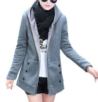 achat en gros de coton gris veste korean-Femmes Pull à capuche Vestes Hauts Hiver Style coréenne chaud dames filles gris Casual Coat coton épais Zipper Hoodie Cashmere 5FNZ296 @ B