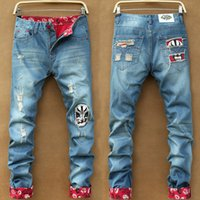 achat en gros de jeans jambe mince-New Arrival Homme Jeans Torn Jeans Holey Ripped Distressed Wash Straight Leg Slim