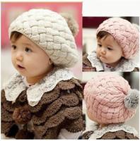 baby cakes winter hats - New Korean Children Winter Fur Hat Knitted Baby Solid Cake Hat Warm Girls Cap hats